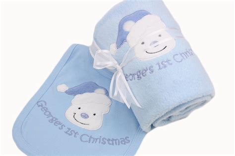 personalised baby boy first 1st christmas blanket bib