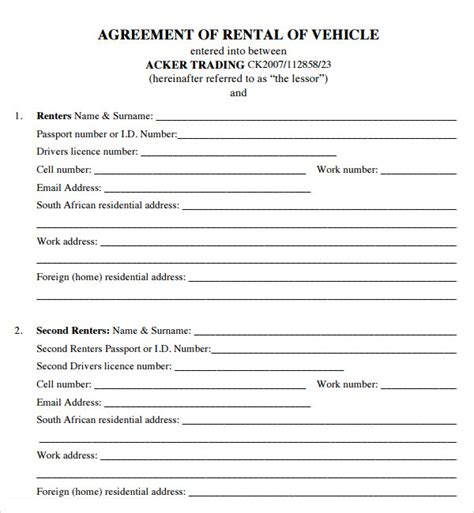 template of vehicle lease agreement house lease agreement 7 free pdf doc sle templates
