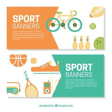 banners flat design elements vector 18 sport elements banners in flat design vector free download