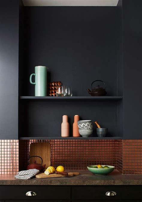 black backsplash kitchen 27 trendy and chic copper kitchen backsplashes digsdigs