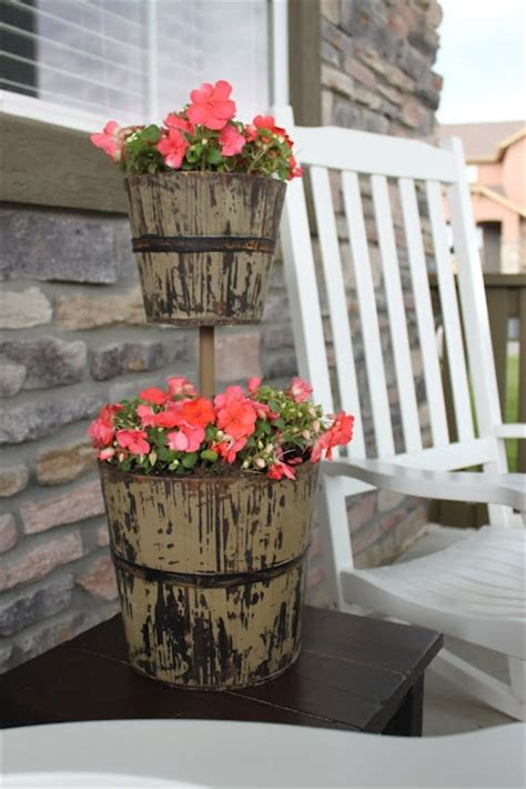 Small Planter Ideas by Clever Ideas Recycle Tiered Pot Stand Ideas Performing Inverted Cable Roll In Circular Top Shape