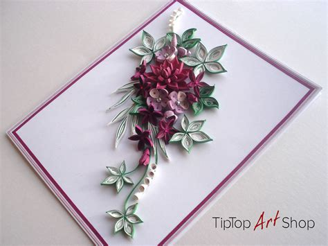 quilled handmade greeting card with 3d paper flowers for
