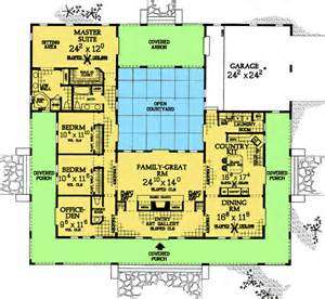 House Plans With Courtyards Plan W81383w Central Courtyard Home Plan E