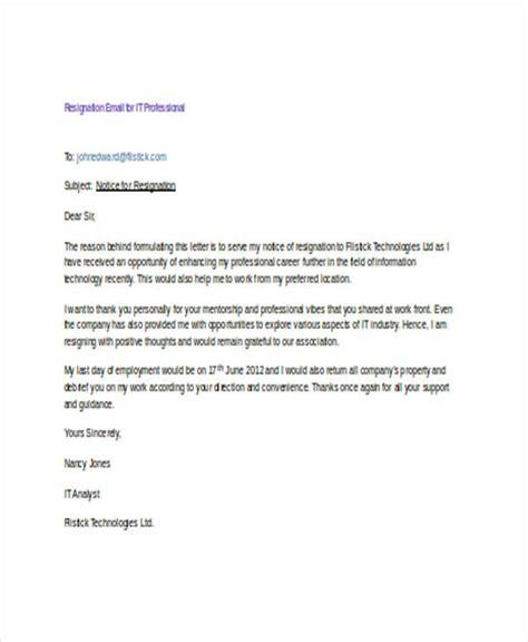 Send Resignation Letter Through Email 18 Resignation Email Exles Doc