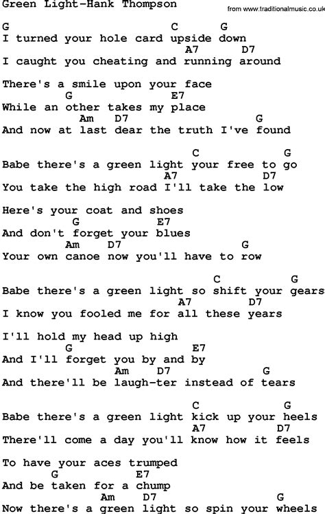 Country Music Green Light Hank Thompson Lyrics And Chords Song Light