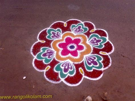 Design Flower Kolam With Dots | flower kolam design this is a very simple flower rangoli