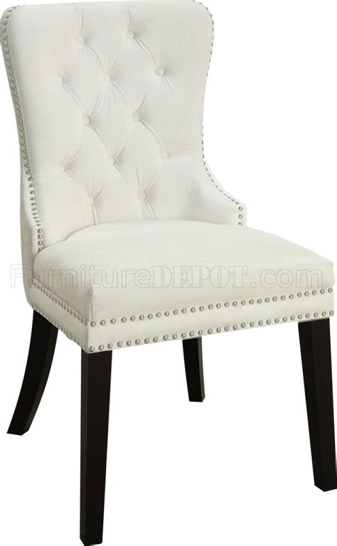 nikki dining chair  set   cream velvet fabric  meridian