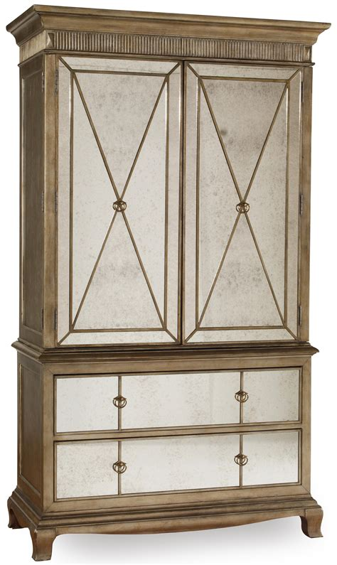 mirror front armoire hooker furniture sanctuary two door two drawer armoire