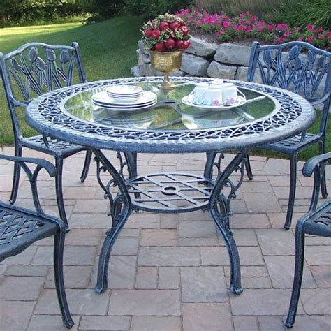 Oakland Living Cast Aluminum 48 Quot Round Patio Dining Table Glass Top Patio Dining Table
