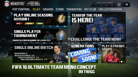 ultimate team layout fifa 16 ultimate team concept menu design by imtwigg on
