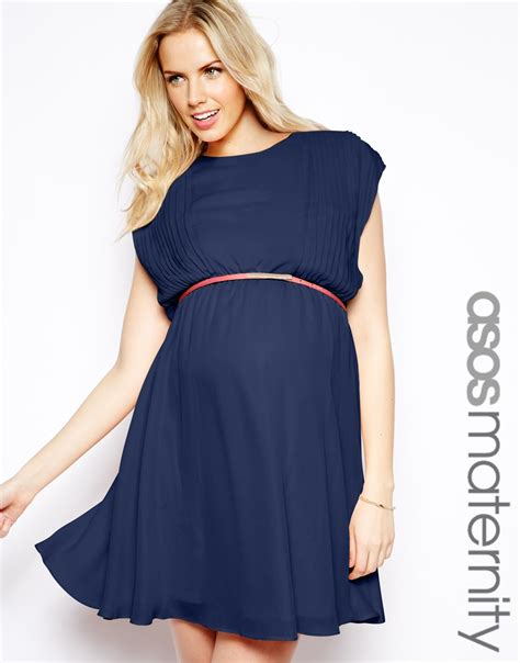asos maternity skater dress with pintuck detail and belt