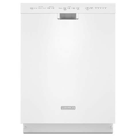 kitchenaid front dishwasher in white with