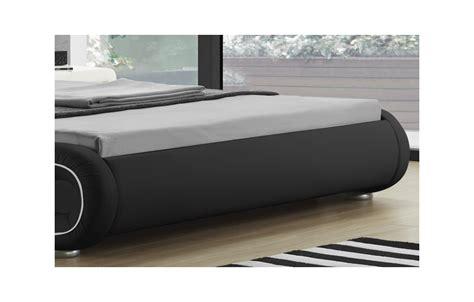 lit simili cuir noir liser 233 blanc 233 clairage led 140 cm