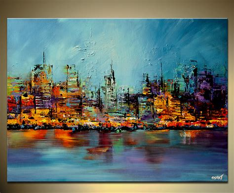 modern paints 40 quot x30 quot future city print stretched embellished