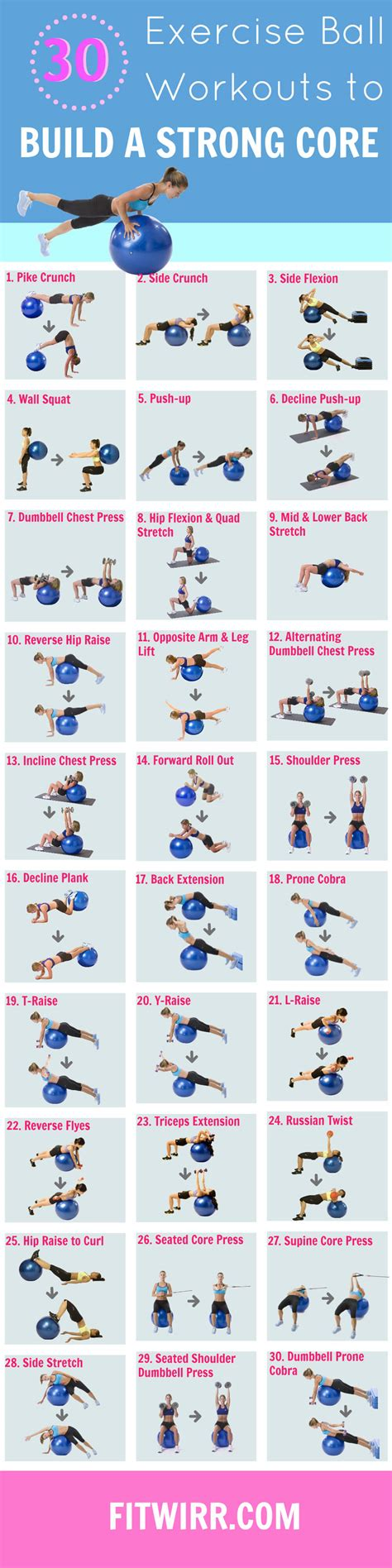 printable exercise ball workouts for beginners 30 printable ball exercises to strengthen your core