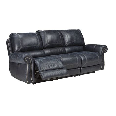 Ashley Milhaven Power Reclining Faux Leather Sofa In Navy Faux Leather Reclining Sofa