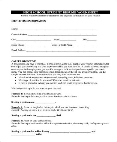 Resume Worksheets by Sle High School Graduate Resume 8 Exles In Word Pdf