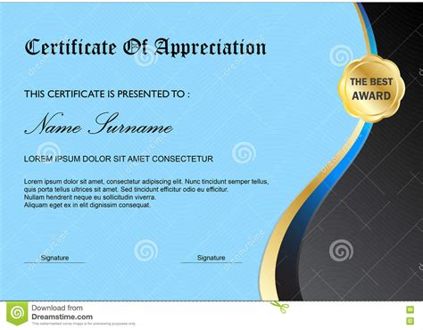 simple certificate template blue certificate diploma award template simple stock