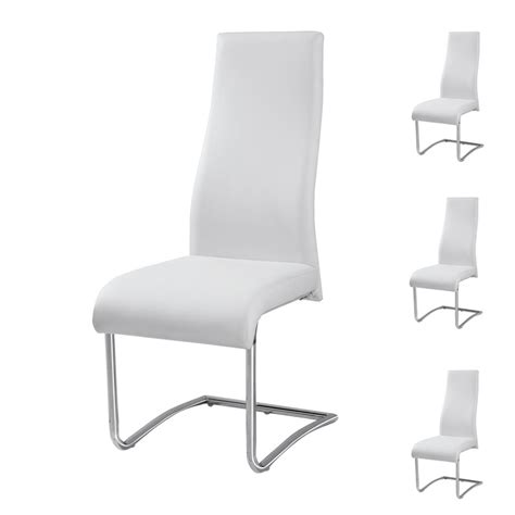 chaise cuir blanc quatuor de chaises rome univers salle 224 manger