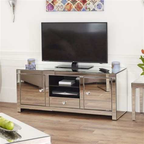 mirrored tv stand venetian mirrored glass widescreen tv unit plasma