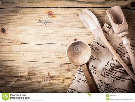 rustic cooking rustic cooking utensils with a recipe royalty free stock
