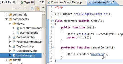 yii layout column2 yiiclipse homepage code navigation