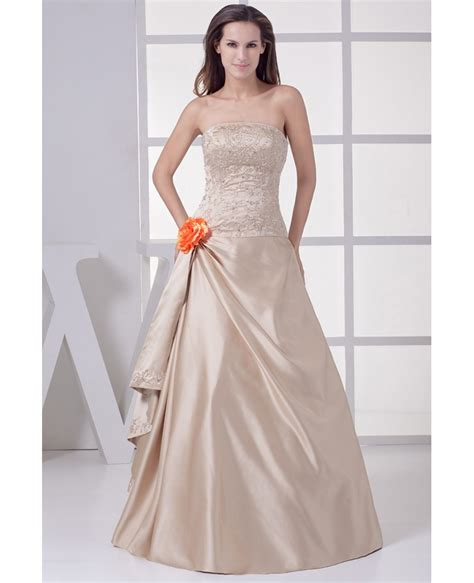 wedding dress with color strapless embroidered chagne color wedding dress with