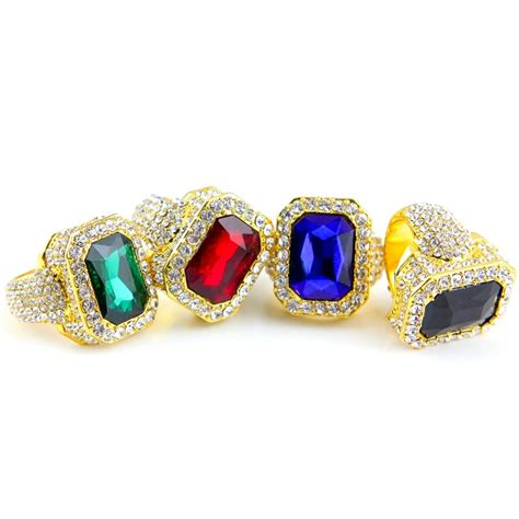 6 Bling Rings To Own by Iced Out Rhinestone Ring 18k Yellow Gold Platinum