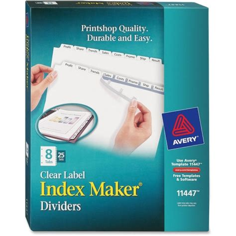 Avery Index Maker Clear Label Dividers 5 Tab Template