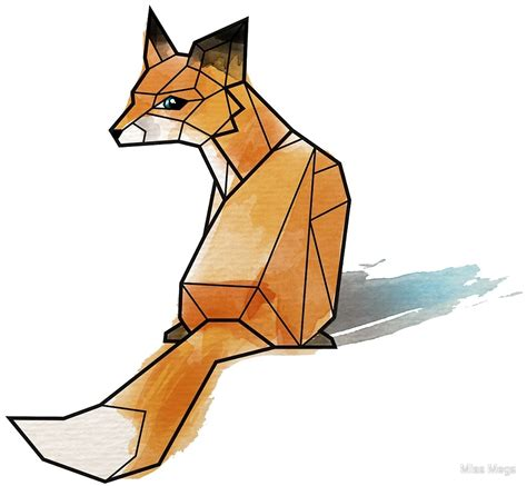 quot geometric watercolour fox quot by miss megs redbubble