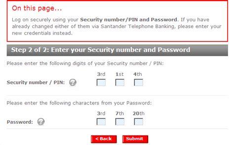 reset online banking password santander page 01 03