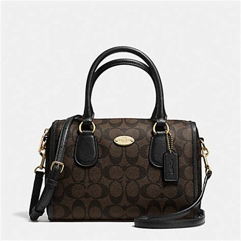 Coach Mini Bennet Patchwork 1 coach f34084 signature mini satchel light gold brown black coach new arrivals