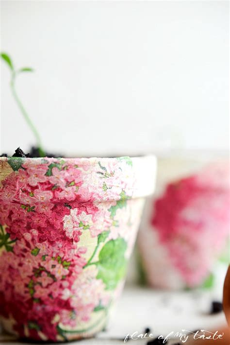 Decoupage Terracotta Plant Pots - decoupaged terra cotta pots