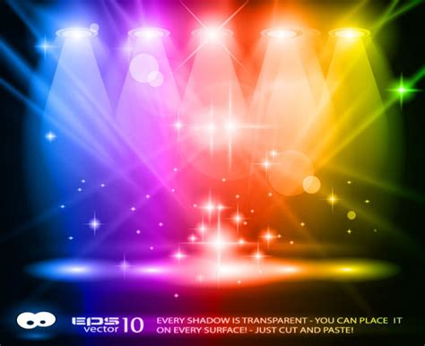 free stage background design vector rainbow stage spotlights vector background free vector in