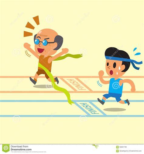 cartoon race cartoon old man winning a race before a young man stock
