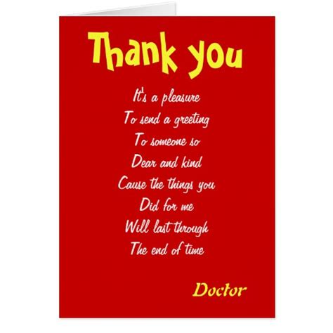 thank you letter appreciation to a doctor doctor thank you cards zazzle