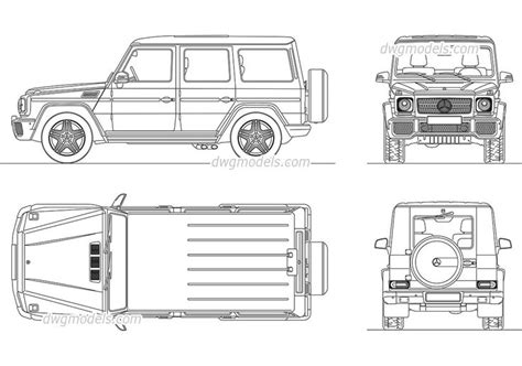 G Wagon Sketches by Mercedes G Class Cad Blocks Free Dwg File Cars