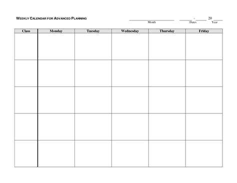 blank calendar template work week weekly calendar template google search autism school