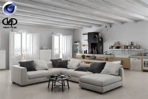 Vray 3d Home Design Living Room And Kitchen C4d Vray 3d Model C4d Cgtrader