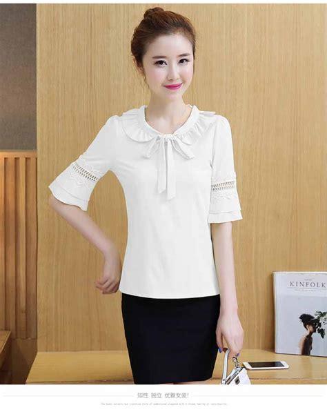Atasan Kemeja Wanita Bertali Pita Terbaru baju atasan putih pita model terbaru myrosefashion