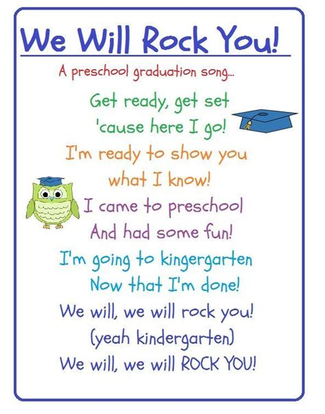 song pre k 2 learn preschool graduation crafts for