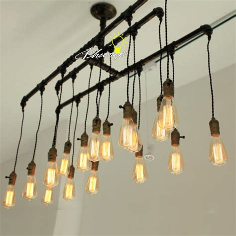 edison chandelier bulbs handmade pipe and edison bulbs chandelier 8823 browse