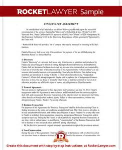 finders fee agreement template finder s fee agreement contract template sle