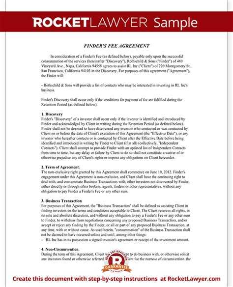 fee agreement template finder s fee agreement contract template sle