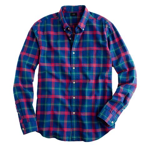 Shirt Tartan oxford plaid shirt in vintage cobalt j crew