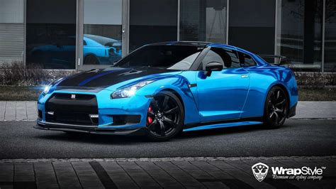 nissan gtr wrapped nissan gtr wrap vinyl chrome blue wallpaper 1920x1080