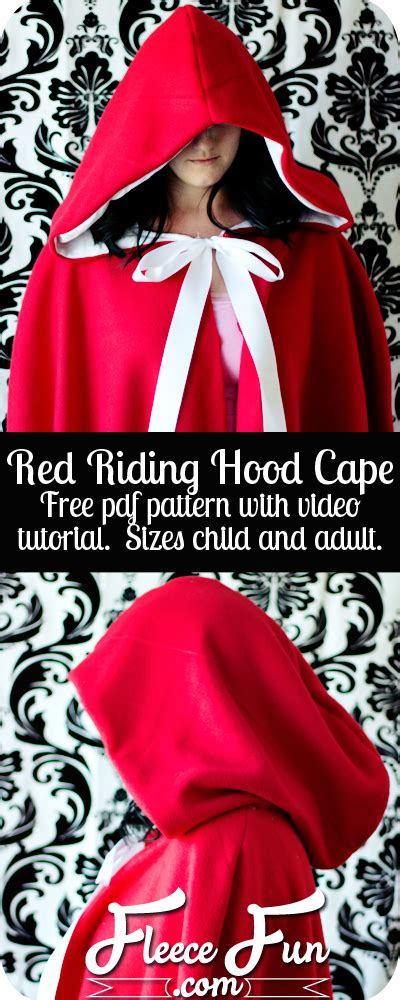 simple pattern for red riding hood cape stylebunny idee per un costume di halloween halloween