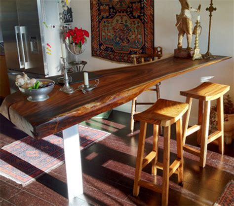 kitchen bar table ideas reclaimed monkeypod wood slab bar top contemporary