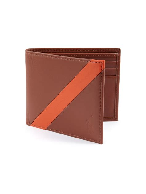 Polo Wallet For polo ralph contrast stripe billfold wallet in brown for lyst