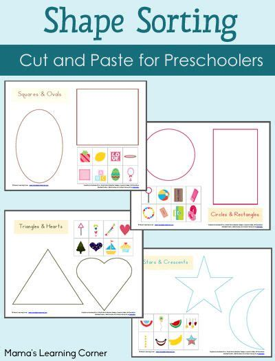 printable shapes for sorting shape sorting printables packet learning activities